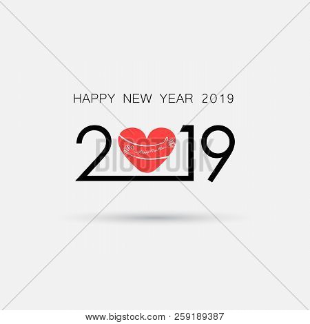 2,0,1 And 9 And Hand Sign With Holiday Background Concept.red Heart Sign And Happy New Year 2019 Typ