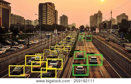 AI Machine Learning  to Identify  Objects technology, Traffic intelligence control system concept. Traffic Jam poster