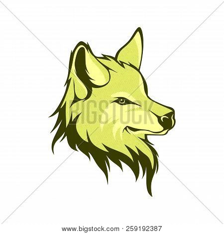 Wolf Silhouette. Vintage Wolf Face Logo Emblem Template For Business Or T-shirt Design Concept. Vect