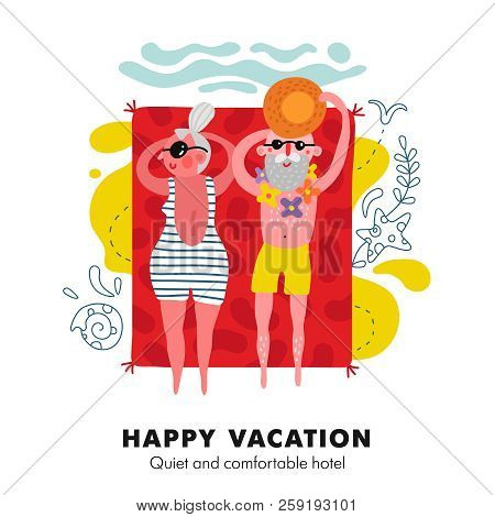 Elderly Couple Seaside Sunbathing On Bright Red Beach Towel Colorful Cartoon Vacation Accommodation
