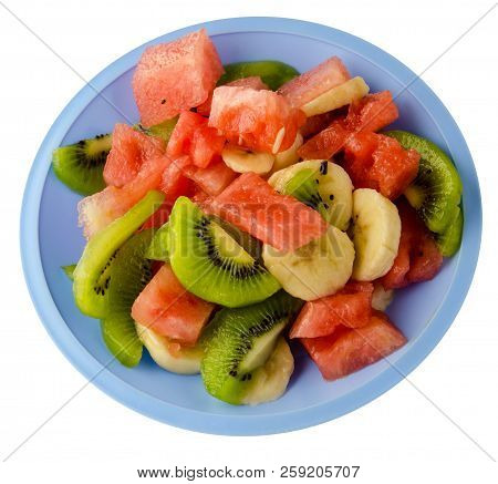 Diet Food. Watermelon, Kiwi, Grapes, Banana On A Plate Isolated On White Background .fruit Salad On