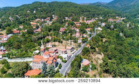 Aerial Pano Platres Village, Limassol, Cyprus