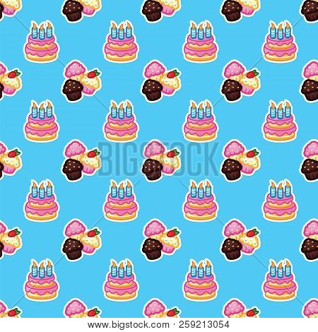 Pattern Birthday Cake With Candles For Celebration Party, Cake, Confectionery Cupcakes. Event, Celeb