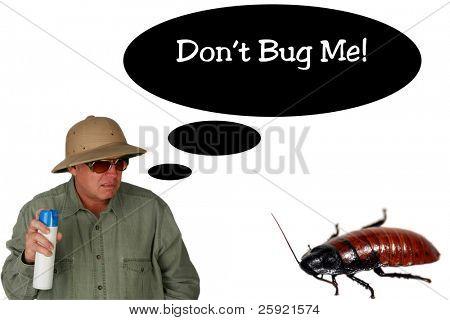 a man  sprays Bug Spray towards a giant cockroach with a