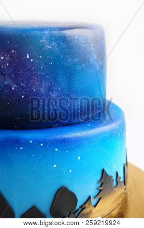 Artistic two-tiered cake with the image of the cosmos drawn by airbrush. Galaxy, stars in the night sky and silhouettes of trees. Cutout. Picture for a menu or a confectionery catalog. Close-up. poster