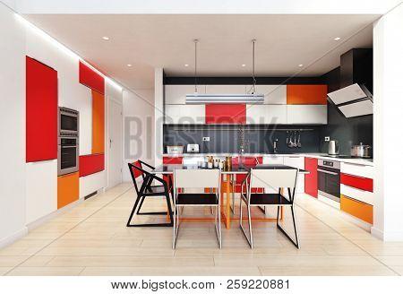 modern color kitchen interior. 3d rendering design concept