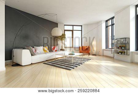 modern apartment interior. 3d rendering design concept
