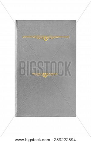 Book with grey gilded cover isolated over white poster