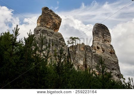 Sandstone Rocks Near Valdstejn Gothic Castle