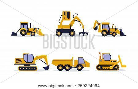 Flat Vector Set Of Construction Equipment. Excavator, Backhoe Loader, Rock Truck. Heavy Machinery Fo