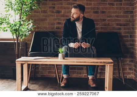 Classic Elegant Stylish Smart Clever Handsome Attractive Minded Bearded Job Seeker In Jacket And Jea