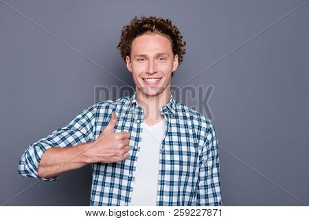 Cheerful Nice Attractive Good-looking Handsome Young Man With Wavy Hair In Casual Checkered Shirt, S