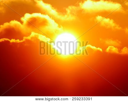 Sunrise In The Sky. Bright Red Sunrise. Sunrise Background.