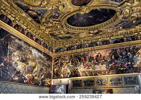 Venice, Italy - May 20, 2017: Inside The Doge`s Palace Or Palazzo Ducale. Doge`s Palace Is One Of Th