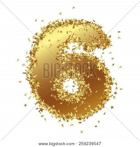abstract golden number with starlet border six 6 birthday party new years eve jubilee number figure digit graphic illustration isolated on