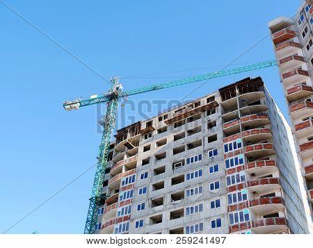 Skyscraper Conctruction. Consrtuction Of A High Rise Building. Construction Site.