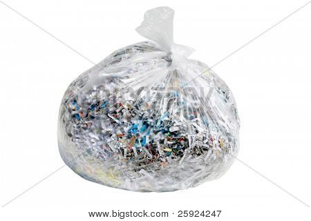 clear plastic trash bag filled with confetti shredded documents containing sensitive information such as medical bills, credit card and bank statements, and other personal info