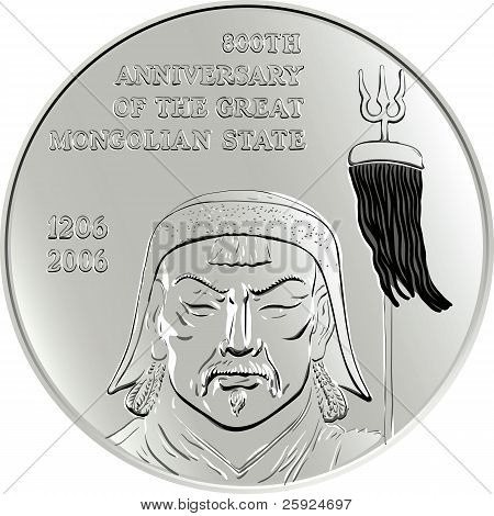 Vector Mongolian Money Silver Commemorative Coin With The Image Of Genghis Khan