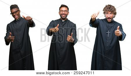 Collage of christian priest men over isolated background approving doing positive gesture with hand, thumbs up smiling and happy for success. Looking at the camera, winner gesture.