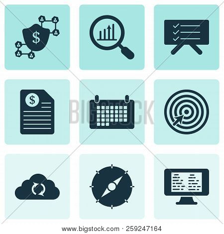 Work Icons Set With Planning Board, Contract, Online Task Board And Other Task Manager Elements. Iso