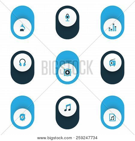 Music Icons Colored Set With Meloman, Phonograph, Mike And Other Radio Elements. Isolated Vector Ill