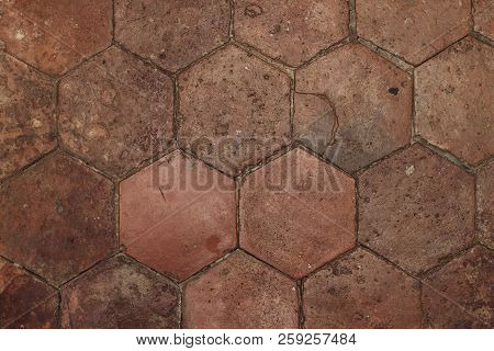 Vintage Hexagon Tiled Floor Texture, Brown Color Background