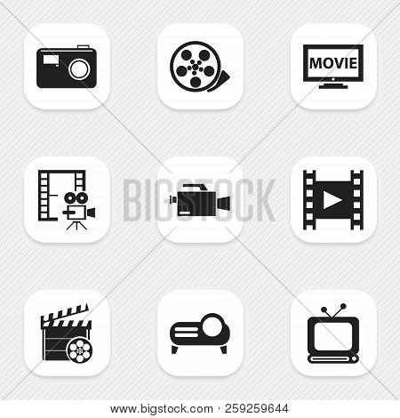 Set Of 9 Editable Filming Icons. Includes Symbols Such As Retro Television, Movie, Camcorder And Mor