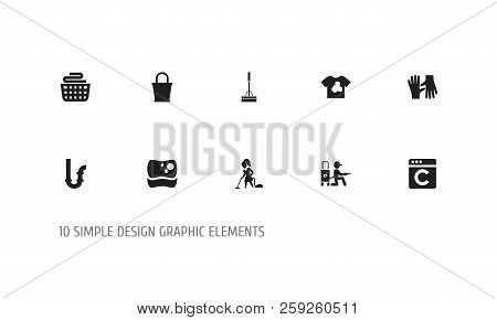 Set Of 10 Editable Cleanup Icons. Includes Symbols Such As Bucket, Dirty T-shirt, Swob And More. Can