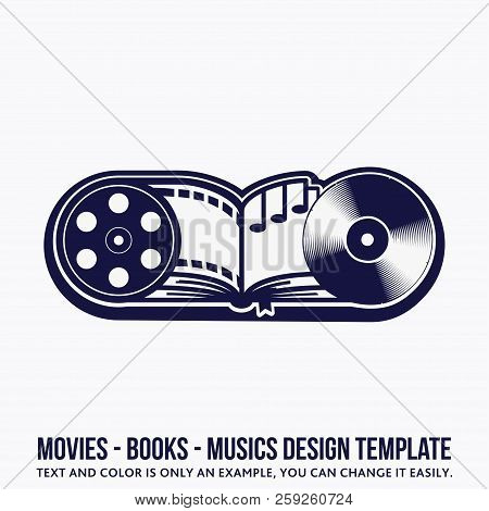Music, Book, Movies Design Template. Vector And Illustration.
