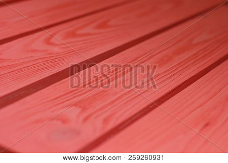 Wood Texture, Coral-red Color Wooden Plank Grain Background, Desk In Perspective Close Up, Striped T