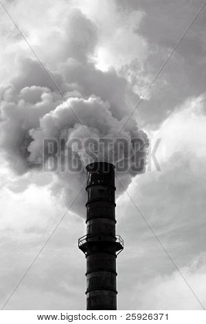 poster of an industrial smoke stack belches out noxis smoke and crud including dreaded CO2 and other global warming gasses freely into the automosphere quickly ruining our earth and enviroment for all