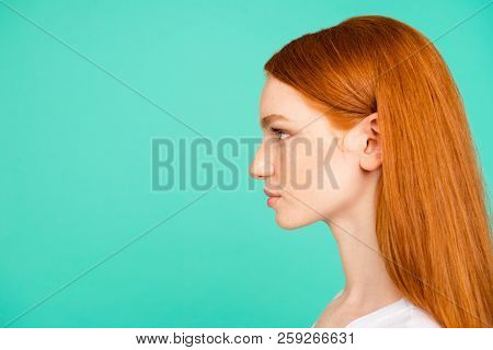 Profile Side View Portrait Of Nice Positive Calm Content Attractive Cute Bright Vivid Shiny Red Stra