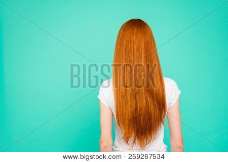 Rear Back View Of Nice Attractive Bright Vivid Shiny Red Straight-haired Girl In Casual T-shirt, Iso