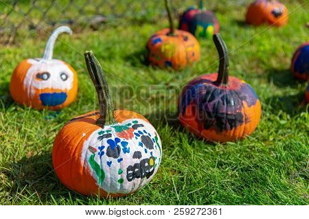 School Craft. Preparation For Halloween. Painted Pumpkins Outside.
