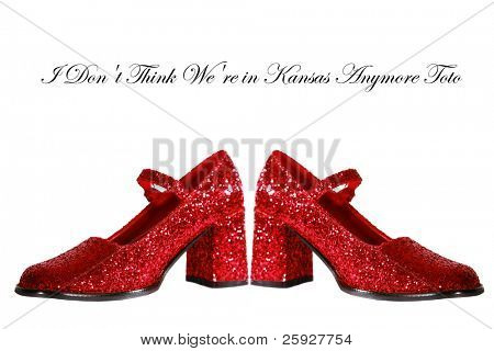 Ruby Red Slippers with red glitter isolated on white with room for your text poster