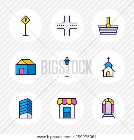 Illustration Of 9  Icons Colored Line. Editable Set Of Storefront, Railway, House And Other Icon Ele