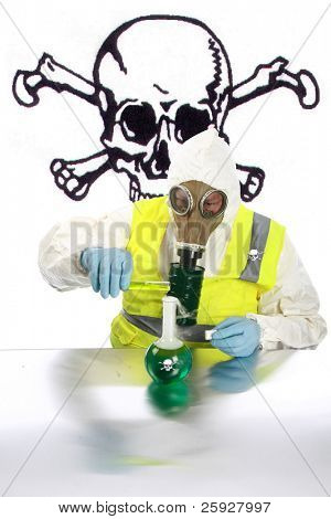 an Anarchist wearing a hazmat suit, gloves and gas mask mixes dangerous chemicals together in a lab in preparation for expected up coming mayhem with room for your text.