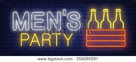 Mens Party Neon Sign. Box With Bottles Of Beer On Brick Wall Background. Vector Illustration In Neon