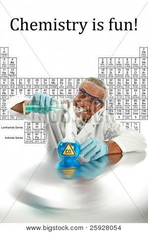 Humor, Chemistry, Science, Medical, Global Warming - a chemist or scientist  works on a cure to end GLOBAL WARMING and save mankind from CO2 poisoning,  isolated on white with room for your text. . poster