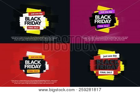 A Set Of Banners Black Friday Sale. Abstract Ink Blots On A Background. Great Discounts. Brush Strok