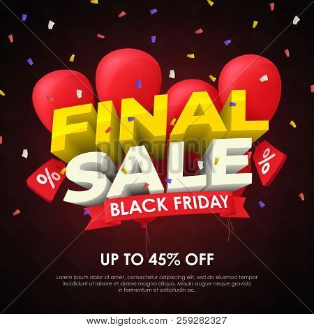 Sale Banner Template Design. Final Sale Special Offer. Seasonal Discounts. 3d Letters And Red Balloo