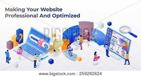 Web Page Design Template For Web Studio In The Modern 3d Isometric Style. Purchase Of A Domain Name.