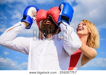 Relations game or struggle. Play and have fun. Tricks every woman needs to know. Girl smiling face covers male face boxing gloves. Break rules success. Dexterous tricks play relations. Tricky female poster