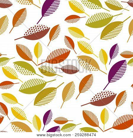 Simple Geometric Naive Colorful Fall Leaves Seamless Pattern. Bright Autumn Repeatable Motif For Wra