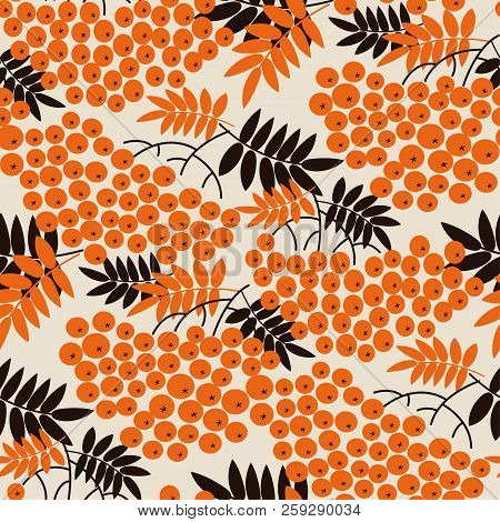 Black And Orange Concept Rowanberry Seamless Pattern For Autumn Design Projects. Fall Natural Tradit