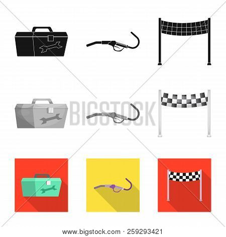 Vector Illustration Of Car And Rally Logo. Set Of Car And Race Stock Vector Illustration.