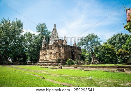 The Maha chedi of Wat Chet Yot,  Buddhist temple in Chiang Mai in northern Thailand poster