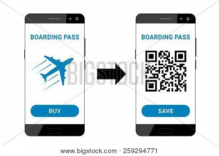 Using A Smartphone For Booking A Boarding Pass To Travel On The Plane. Flat Design. Vector Illustrat