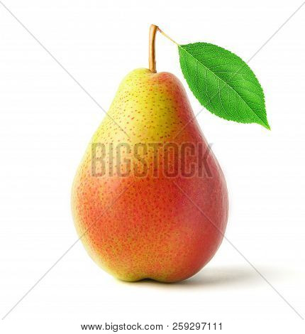 Isolated Pear. One Red And Yellow Pear Fruit With Leaves Isolated On White Background