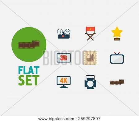 Video Icons Set. Cinema Tape And Video Icons With 4k Cinema, Television And Director Chair. Set Of D